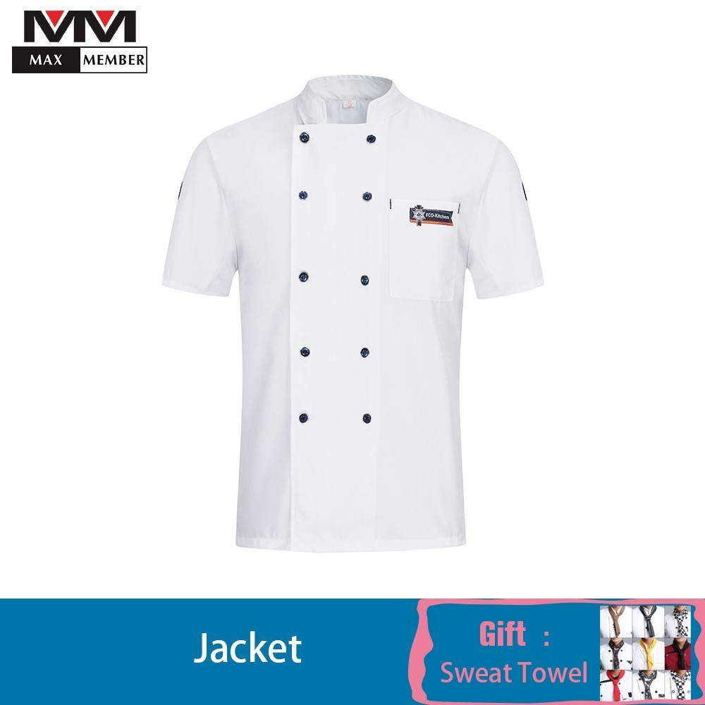 2019 Chef Jacket Summer Work Clothes Catering Cool Cook Shirt Men Women Veste De Cuisine Kitchen Uniform Sushi Hotel Breathable