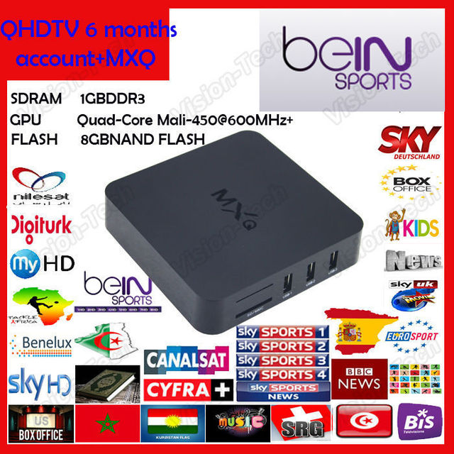 US $75 0 |Arabic Africa Europe IPTV Box 600+ TV Channels mxq android tv box  Set Top Box XBMC Media Player Android Smart TV Box with Wifi-in Set-top