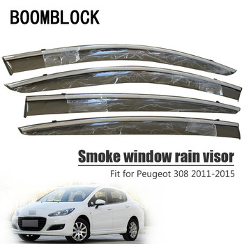 BOOMBLOCK 4pcs Car Covers Window Visor Sun Rain Wind Deflector Awning Shield ABS For Peugeot 308 2011 2012 2013 2014 2015