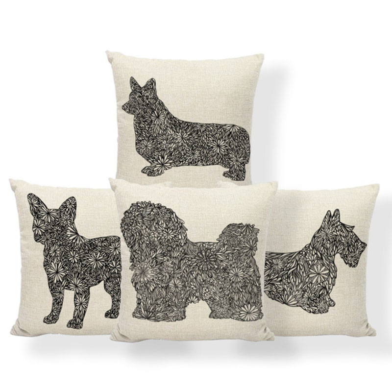 Dog Dachshund Cushions Pug Greyhound Pillow Cushion Schnauzer Kilim Wedding For Sofa Pillow With Cover 17X17 Cotton Blend Relax