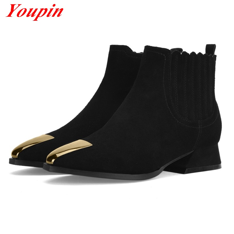 Knight boots 2016 Natural leather latest models Metal decorative toe Scrub Cattle suede Woman shoes Warm