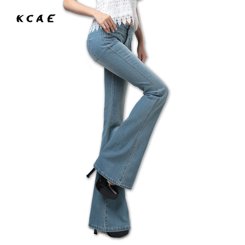 Free Shipping New Women Boot Cut Jeans Girls Fashion Bell-bottom trousers Mid Waist Flares Pants Size 25-32  2017 new plus size clothing spring bell bottom jeans female lengthen boot cut mid waist big horn denim trousers