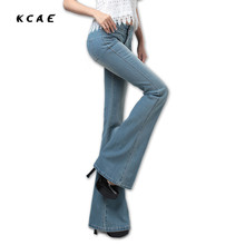 Free Shipping New Women Plus Size Boot Cut Jeans Girls Fashion Bell-bottom trousers Mid Waist Flares Pants Large Size 25-32