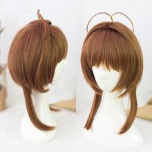 Cardcaptor Sakura Kinomoto Sakura Cosplay peruk kahverengi düz şeffaf kart peruk sentetik saç peruk Cosplay peruk + saç filesi