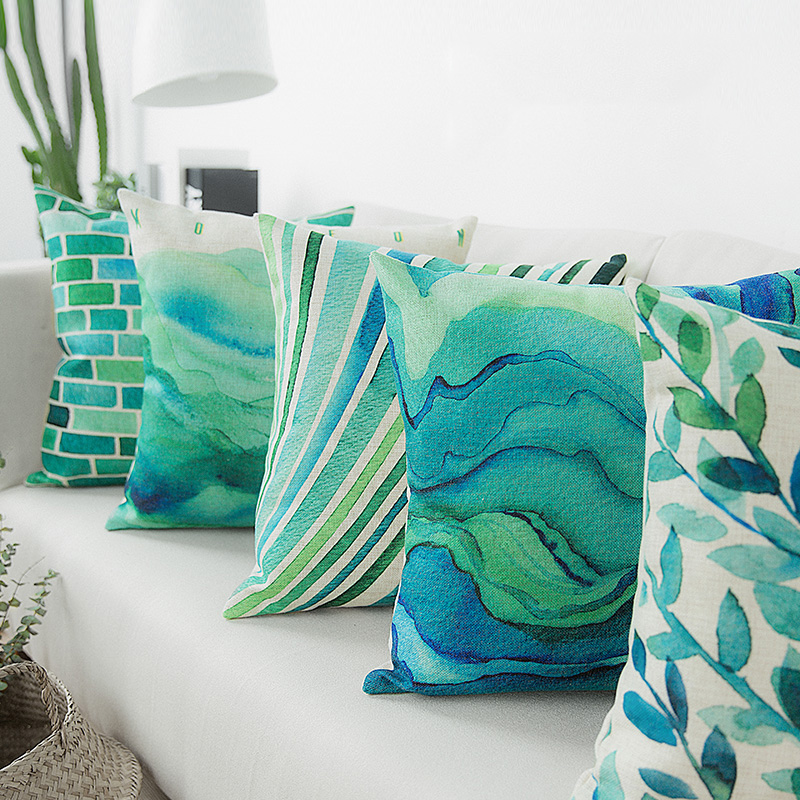 Us 13 99 Wholesales Vintage Blue Green Watercolor Cushion Cover Abstract Cushions For Sofa Seat Simple Home Decor 45 45cm Pillow Case In Cushion