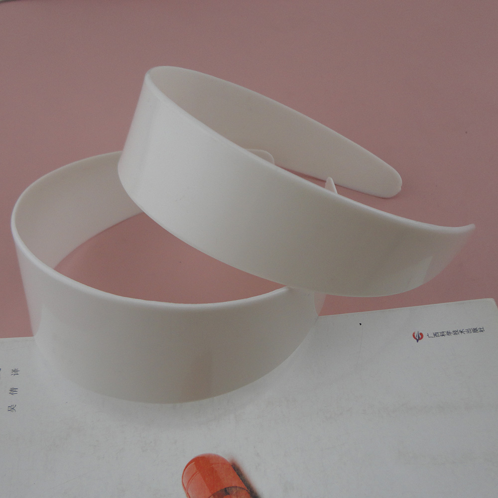 2PCS 3.8cm 4.8cm White Plain Plastic Wide Headbands For Womens No Teeth As DIY Accessories Raw Hairbands