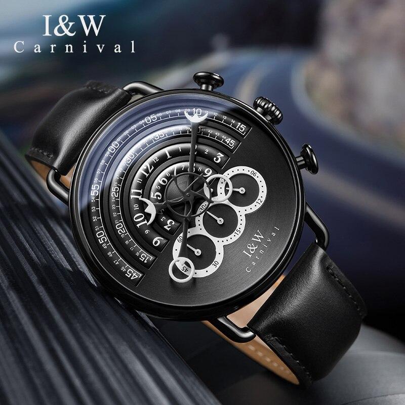 Carnaval novo masculino cronógrafo relógio de quartzo analógico relógio esporte 24 horas exibição safira à prova dwaterproof água moda relogio masculino - 2