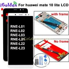 Pantalla Per Huawei Mate 10 Lite LCD Display Touch Screen Digitizer Pannello di Vetro Dello Schermo di Montaggio con telaio per Compagno di 10 lite lcd