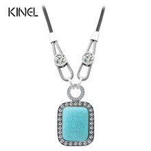 Kinel Fashion Necklace For Women CZ Zircons Black Leather Cord Big Pendant Vintage Jewelry Christmas Gift(China)