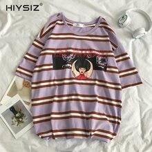 HIYSIZ NEW T-Shirt Men 2019 HOT Casual Streetwear Summer Cartoon-Printed Loose-Fitting Striped Short-Sleeved t-shirts ST280