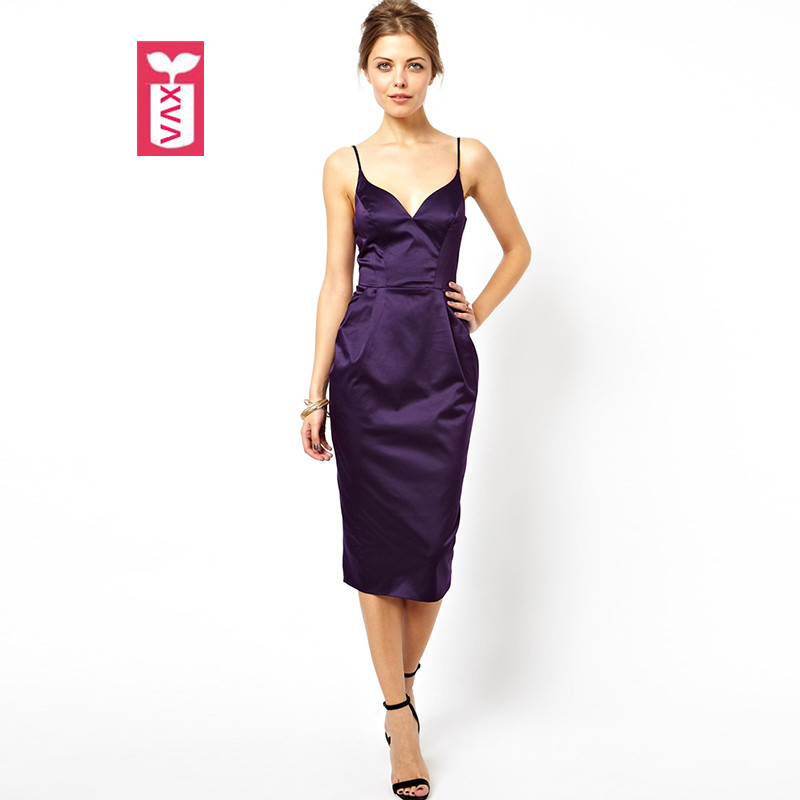 Unique Noble Purple 2018 Summer Womens Spaghetti Strap Backless Medium-long Banquet dress Sleeveless Party Pencil Dress