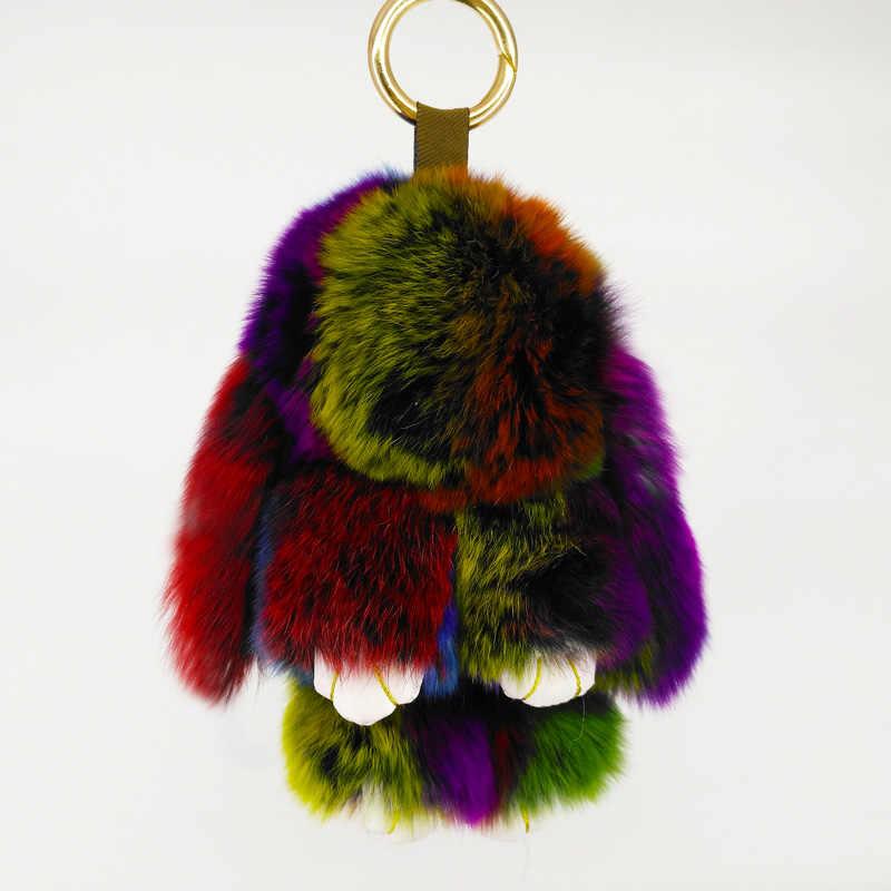 Coelho bonito pokemon boneca chaveiros coelho pele artesanal pompon chaveiro sacos pingente decoração jóias ornamento ano novo presentes f