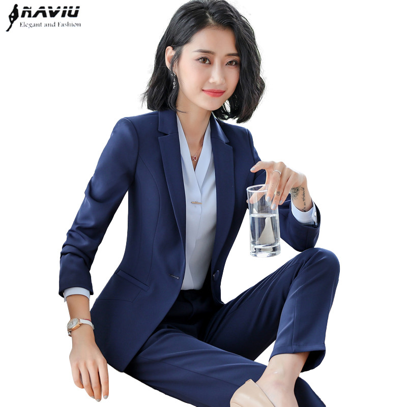 New arrive two pieces set pant suits winter fashion formal long sleeve slim blazers with trousers