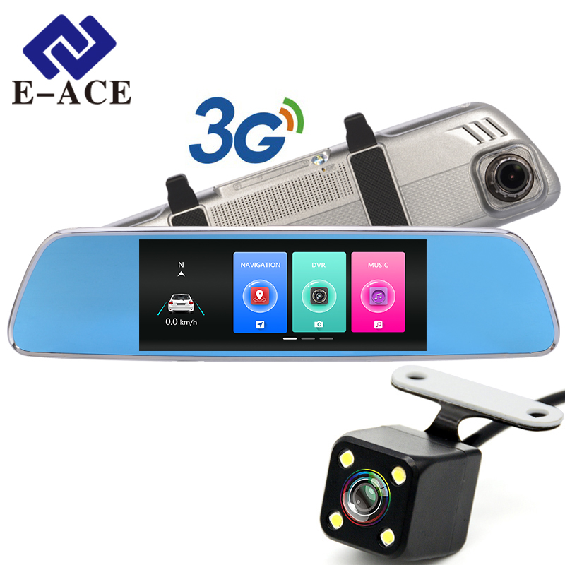 E-ACE 3G Car 7 GPS Dash cam Rearview Mirror With DVR And Camera Android 5.0 FHD 1080P Video WIFI Navigation Recorder Registrar e ace auto gps navigation tracker car dvr 3g wifi camera 7 touch screen android navigators 1080p video recorder rearview mirror