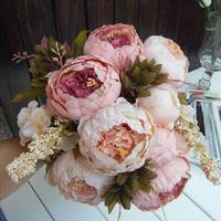 1 Bouquet Elegant Peony Flowers Fake Leaf Home Wedding Party Decor Decoration Free Shipping