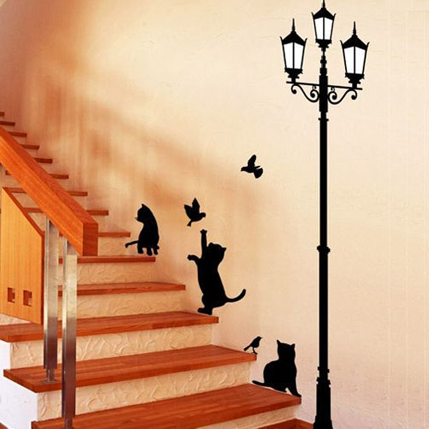 Free Shipping Popular Ancient Lamp Cats and Birds Wall Sticker Wall