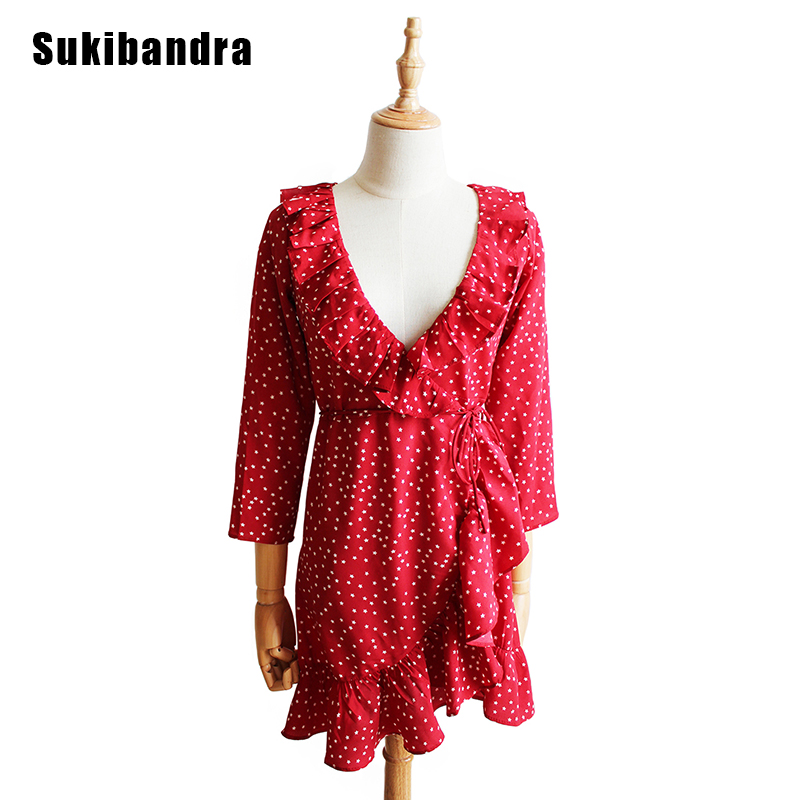 Sukibandra Star Print Short Red Sweet Cute Dress Fashion Women Vintage Ruffle Summer Dress Girl Long