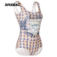 XAXBXC 1231 Summer Sexy Girl Swimwear Bodysuit Letter Plaid Striped 3D Prints One Piece Women Swimsuit Sport Bathing Suit