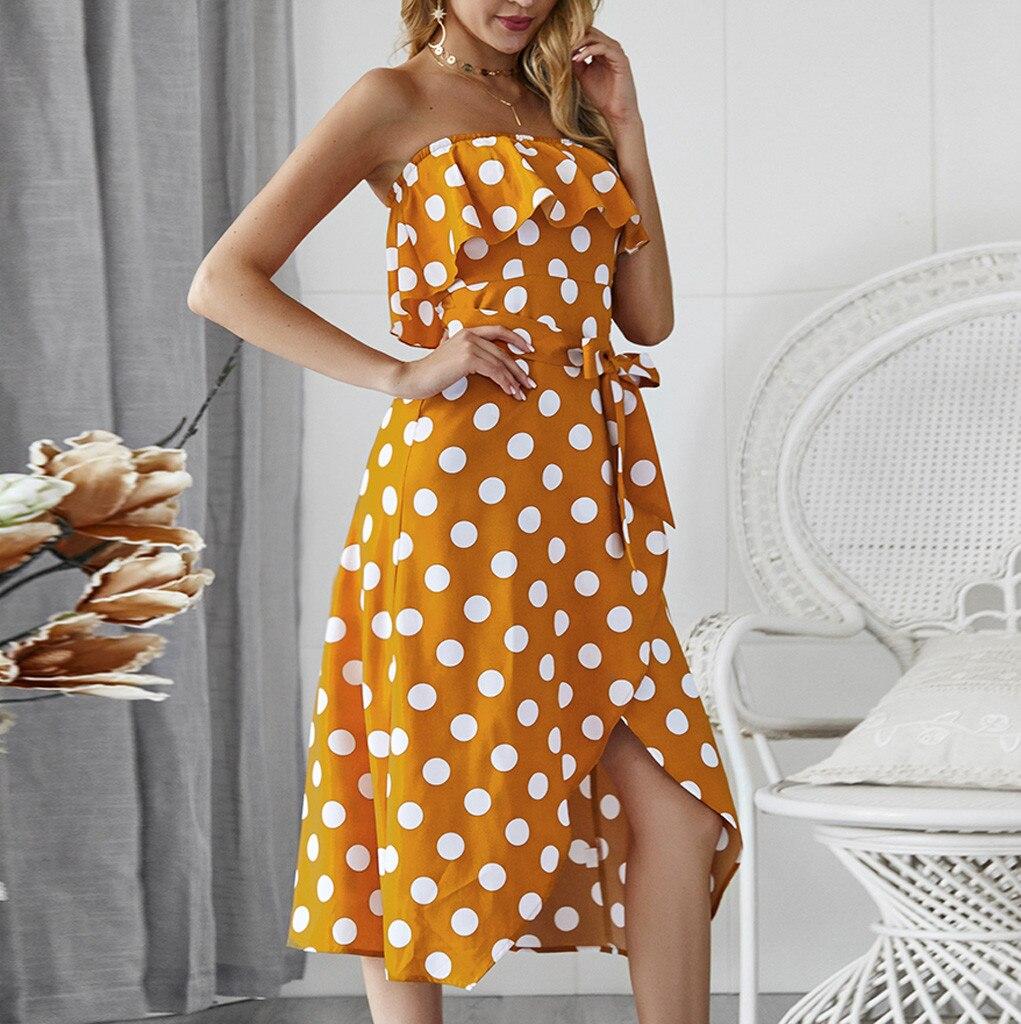 219cc1896701 MUQGEW 2019 Boho detalle Foldover frente Flippy dobladillo Floral vestido  verano Casual Bandeau Dot ...