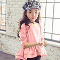 3-8 T roupas meninas T-shirt de manga longa Coreano folho tshirt crianças roupas Meninas Crianças Tops