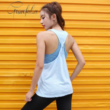 Women Yoga Top Push Up Padded Yoga Vest Loose Fake Two-piece Running Fitness Sports Bras Sleeveless Vest Gym Shirt Workout Top(China)