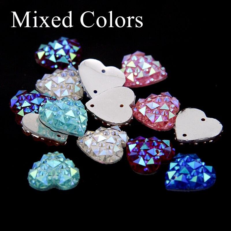 14mm 100pcs Heart Shape Sew On Rhinestones With Two Holes Multicolor Flatback Resin Beads DIY Sewing Wedding Dress Accessories 748277 нить для всех материалов sew all 100