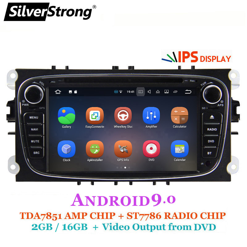 SilverStrong Android9.0 IPS panneau 2 GB RAM voiture DVD pour FORD Focus 2 Android Radio pour Galaxy pour Mondeo en option TPMS HD DVR DAB +