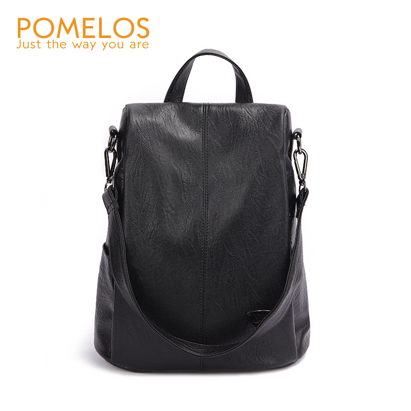 POMELOS Backpack Female Designer New Women PU Leather Backpack Anti Theft High Quality Soft Back Pack Backpacks School Bags-in Backpacks from Luggage & Bags