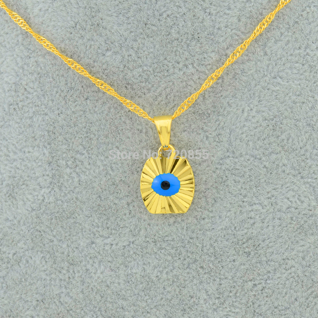 Anniyo Small Mini Blue Eye Gold Color Evil of Eye Pendant Necklaces Chain Kids G