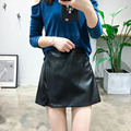 Women PU Leather Shorts 2016 Autumn Winter all-match  Faux Leather Wide Leg high waist shorts skirts womens jupe shorts