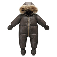 2018 russian winter natural fur rompers baby boy clothes newborn down jumpsuit infant thick warm outerwear girls snowsuits