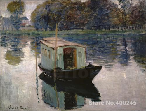 Christmas Gift art on Canvas The Studio Boat by Claude Monet Painting High Quality Handmade