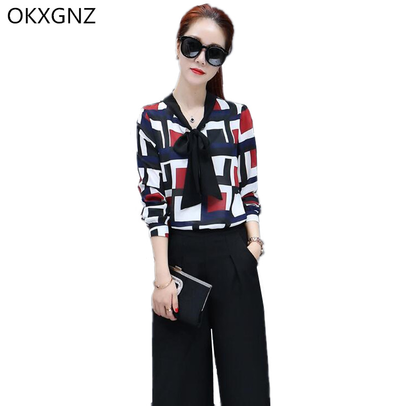 OKXGNZ 2 Two Piece Set Women Korea Female Chiffon Blouse Tops Wide Leg Pants 2017 Summer Style Casual Clothes Womens Suits AH185