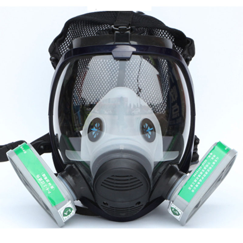 Full Face Gas Mask 6800 Chemical Respirator with Filter Cartridges Anti Gas 3 Pieces SuitKR002 1pcs double gas mask chemical gas respirator face masks filter chemical gas protected face mask with goggles