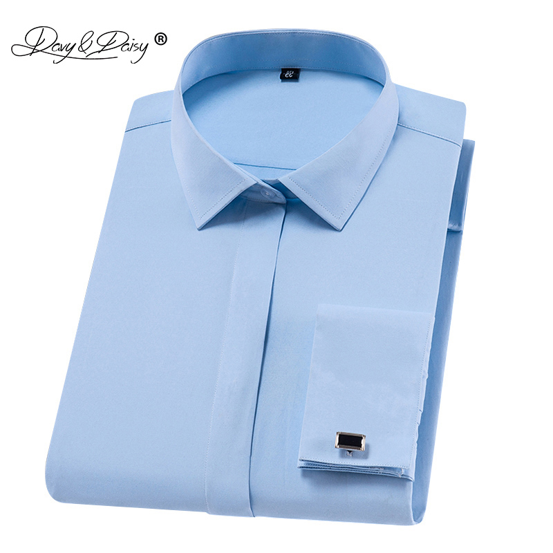 1b1f6a30a009f US $12.99 49% OFF|DAVYDAISY New Arrival 2019 French Cuff Men's Shirt Dress  White Shirt Long Sleeved Man Formal Solid Man camisa masculin DS280-in ...