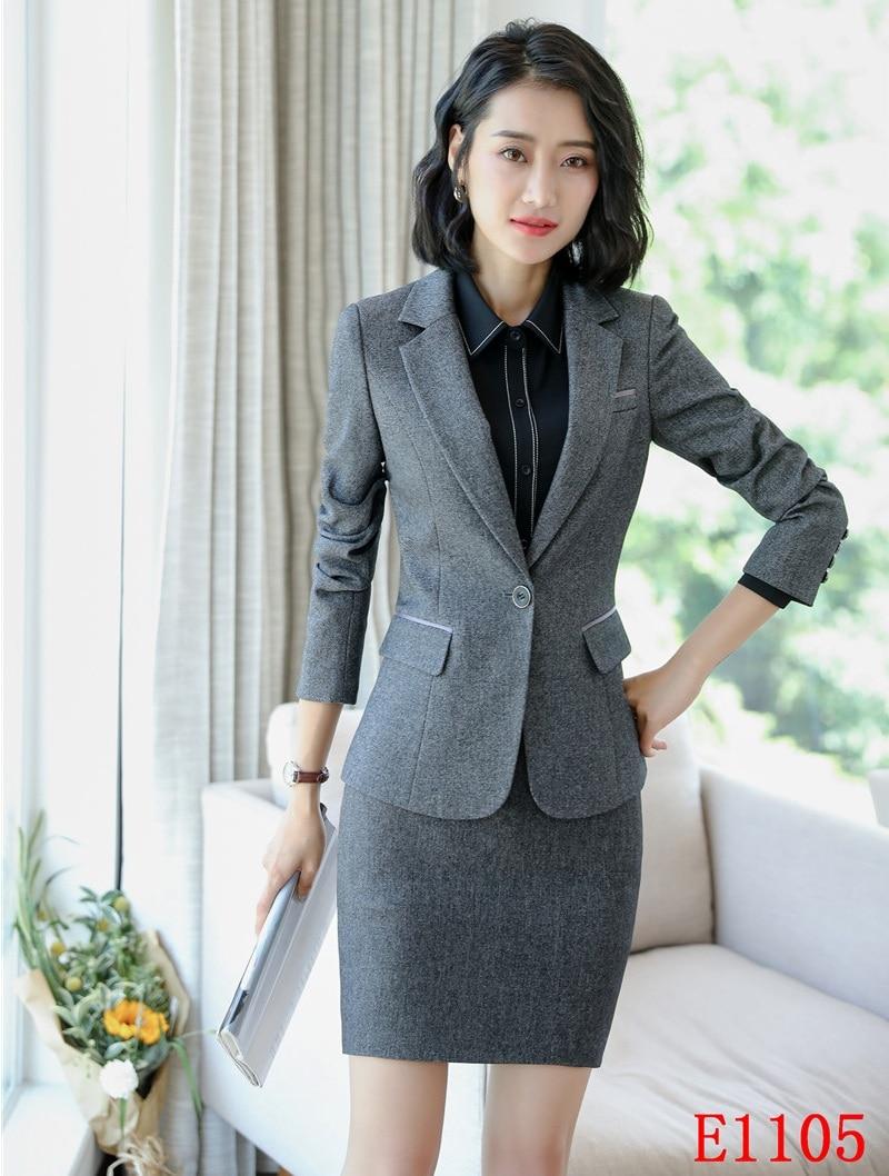 Dames Noir Femmes gris Bureau Et Formelle Blazer Wear Uniforme Veste Jupe Costumes Work Gris Styles D'affaires Ensembles ZdqwTdB8