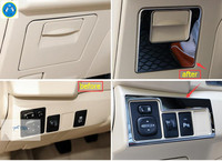 Lapetus Head Lights Lamp Switch + Glove Storage Box Handle Sequins Cover Trim Fit For Toyota Corolla 2014 2015 Stainless Steel