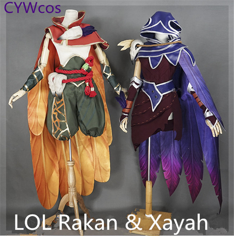LOL Game Cosplay The Rebel Xayah and The Charmer Rakan Sweetheart  Valentine's Day Cosplay Costume Xayah and Rakan Suits Costumes