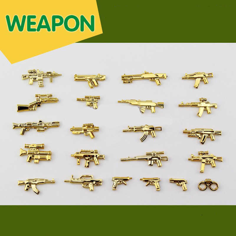 22PCS Military Compatible LegoINGlys SWAT Police Gold Weapons Gun Accessory for Mini Figures bricks Toys for Children Gift