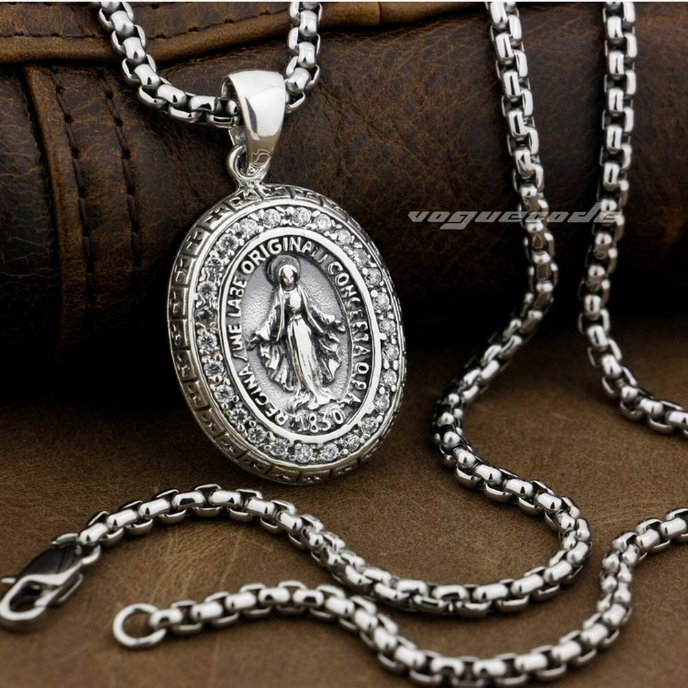 Virgin Mary JESUS White CZ Stone 925 Sterling Silver Pendant 8A004A(Necklace 24inch)Virgin Mary JESUS White CZ Stone 925 Sterling Silver Pendant 8A004A(Necklace 24inch)