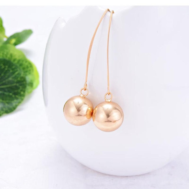 Big Hook Drop Earrings for women Shiny Gold Color Smooth Ball Pendants Statement