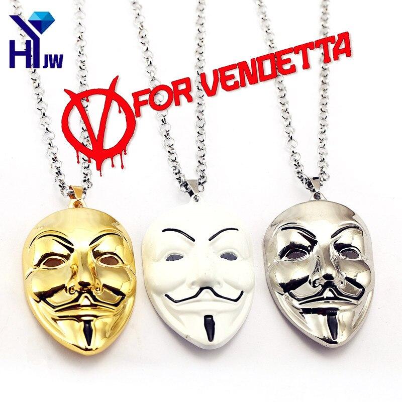 HEYu Moive ювелирные изделия V значит вендетта анонимная маска хип-хоп кулон маска хакера сплав ожерелье Модные ворота Chaveiro 4 цвета