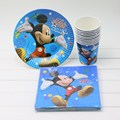 40pcs a Set Cartoon Design Micky Mouse Theme Plates Cups Napkins Kids 1st Birthday Party Decoration Supplies