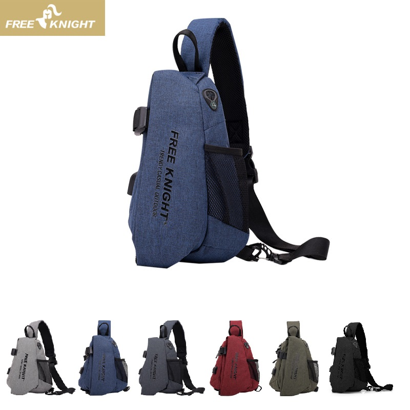 0818 Chest Bag Gym Fitness Sports Backpack Waterproof Outdoor Cross-Body Anti-Theft Pack With USB Charging Port