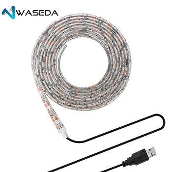Васеда USB DC 5V светодиодный полосы светильник ТВ фон светильник ing SMD5050 DC 5V гибкий светодиодный лента 50 см 1 м 2 м 3 м DIY декоративные полосы