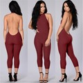 green&wine-red women bodycon rompers new fashion calf-lenght pants skinny sexy low back sleeveless halter elegant jumpsuitsXD617