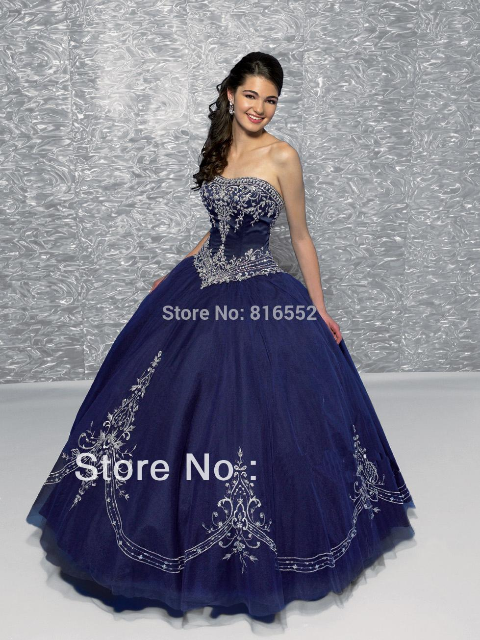Aliexpress.com : Buy 2017 New Dark Blue Quinceanera Dresses With ...