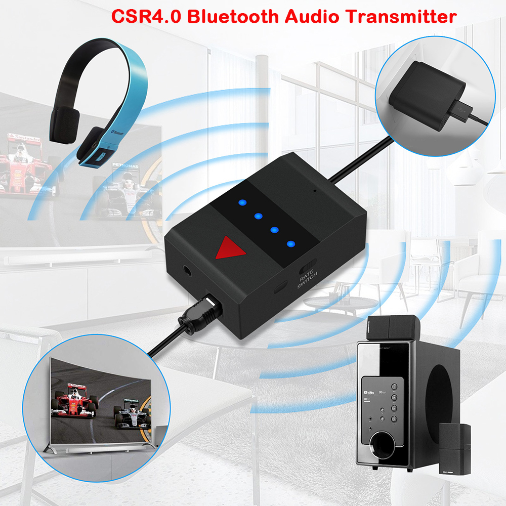Wireless CSR4.0 Bluetooth 3.5mm Audio Transmitter for TV Phone PC XOBX Game Console Stereo USB Audio Music Adapter Receiver