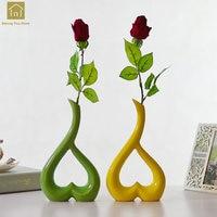 Ceramic Heart Shaped Vase Decoration Home Ceramic Art Work Jarrones Flower Vase Wedding Decor Black Vases For Flowers QAB152