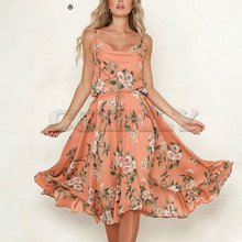 CUERLY Bohemian floral print women dress Sexy strap A-line lace up sundress Summer female beach 2019